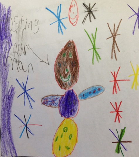 """And one of my personal favorites from a 1st grader - """"Frosting the Snowman"""", made from cake frosting!"""