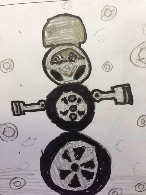 How about a snowman made from car parts - with nuts and bolts falling from the sky instead of snow?
