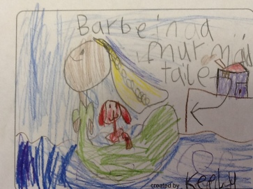 This 1st grader decided that Barbie in A Mermaid Tale would be the perfect partner for the Easter Bunny because she can swim to houses.