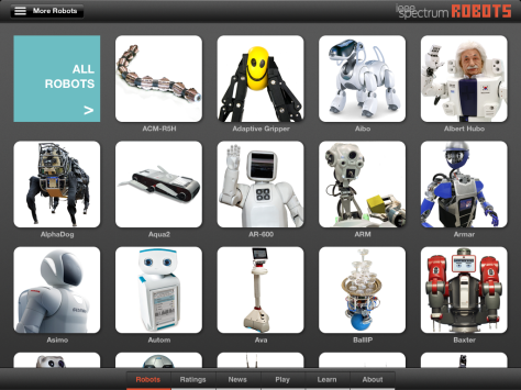 A Screen Shot of Part of the Robots Gallery