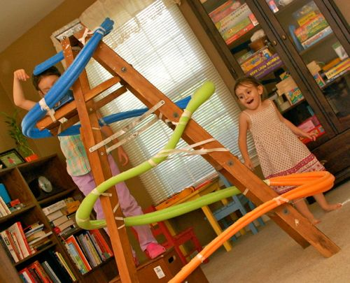 from http://www.babble.com/home/20-clever-ways-to-use-a-pool-noodle/#marble-run