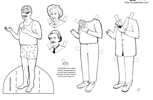from the Albert Einstein paper doll designed by Maggie McFee for Mad Art Lab