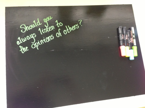 I put chalkboard paint on top, and the students will have a question they can respond to with the neon chalkboard markers each week.