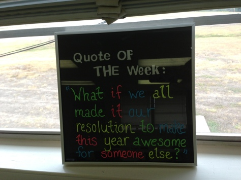 close-up of the Quote of the Day frame I am using - with a quote from Kid President