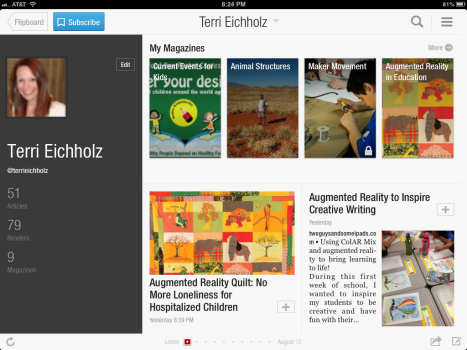 screenshot of some of my Flipboard magazines