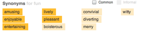 "The Woefully Boring Entry for ""Fun"" at thesaurus.com"