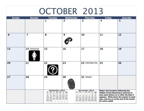 October Mystery Calendar