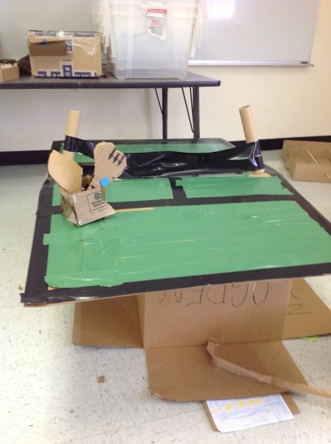 Two students worked together to make this Ping Pong table (with the help of a lot of green duct tape!)