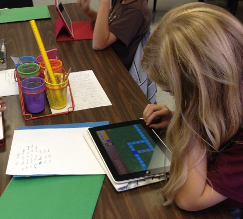 One of my 5th grade students puzzles over a Kodable challenge