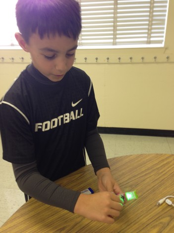 A student works with the Little Bits kit