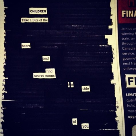 A newspaper blackout poem by Austin Kleon