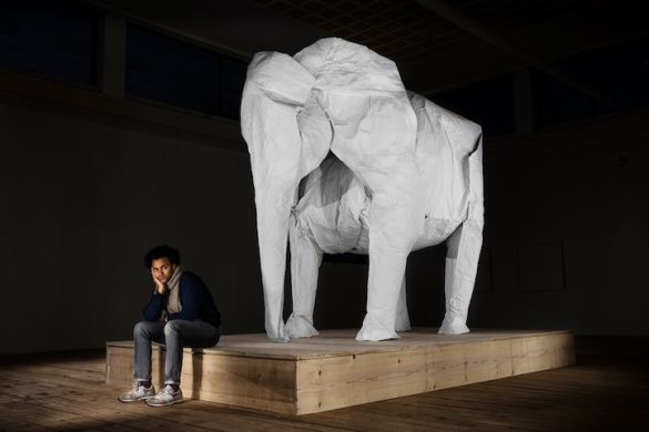 Origami Elephant created by Sipho Mabona, picture from My Modern Met
