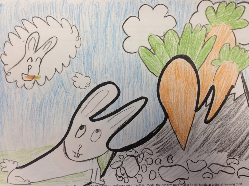 This rabbit is trying to overcome obstacles (stones and mountains) to reach his goal - the giant carrots.