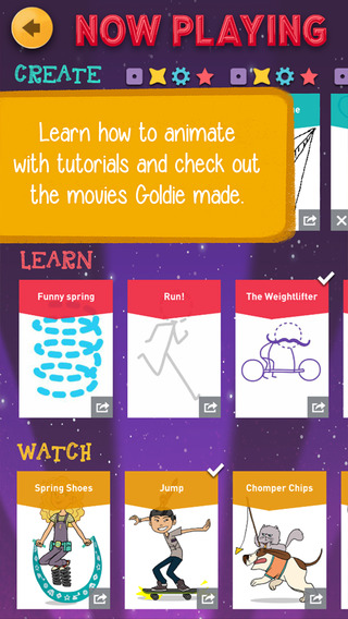 screen shot from GoldieBlox and the Movie Machine app