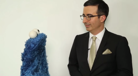 Cookie Monster and John Oliver