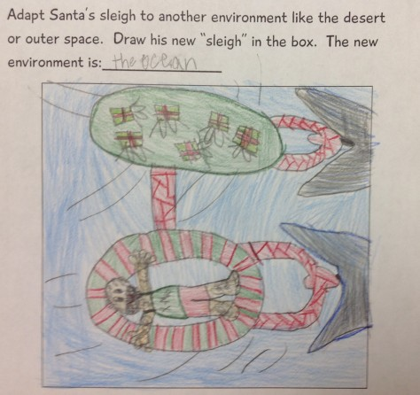 Santa has his own inner tube connected to one carrying gifts.  Whales are pulling them.