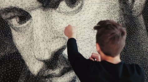 Zenyk Palagniuk used 13,000 nails to make a portrait of a famous entertainer