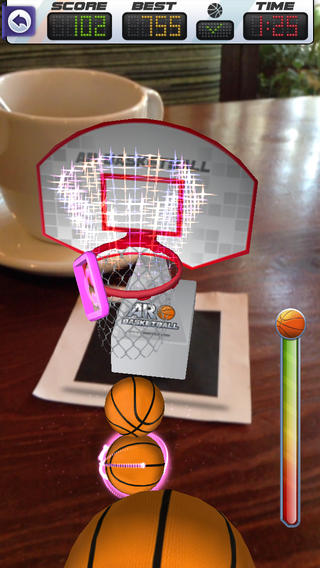 Screen Shot from AR Basketball app
