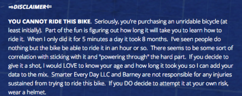 Brain Bike Disclaimer from Smarter Every Day
