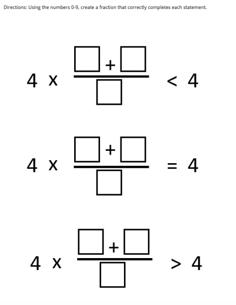 5th grade fraction problem from Open Middle, submitted by Ian Kerr